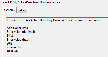 Error using DCShadow with invalid data